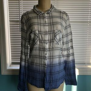 Armerican Rag Blue Plaid Ombré Button Shirt